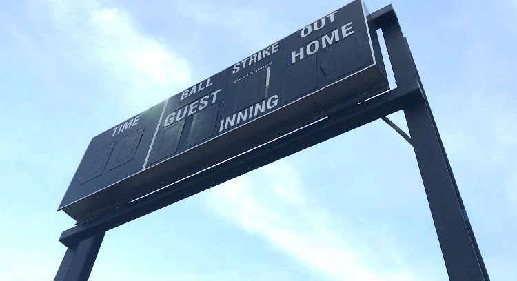 Scoreboard at the Victoria Softball Complex