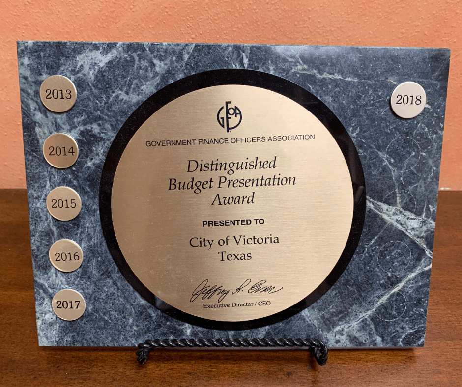 Government Finance Officers Association Distinguished Budget Presentation Award 2013-2018