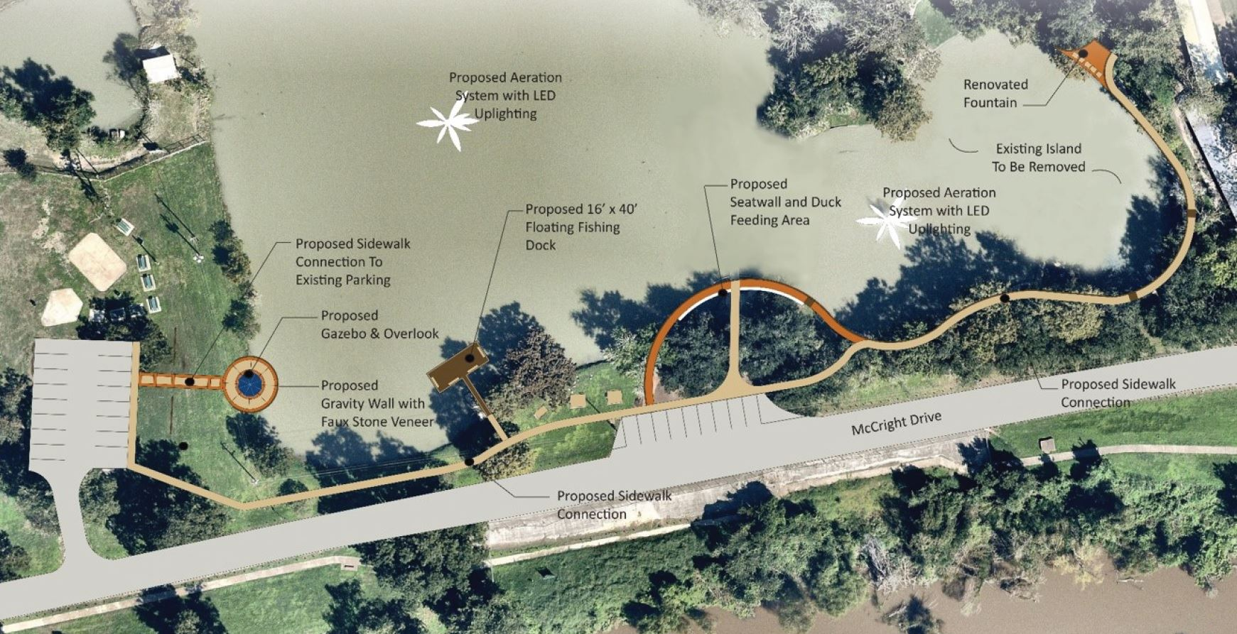 The proposed duck pond design, featuring a larger water area and gazebo moved to opposite side