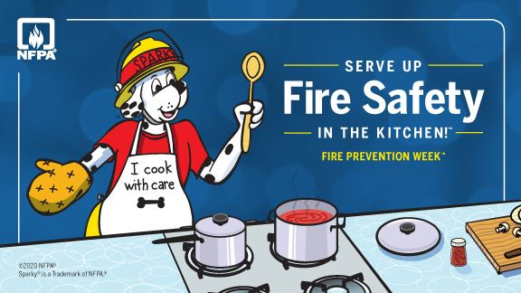 A Dalmatian in a fire helmet cooks at a stove. Text reads &#34Serve up fire safety in the kitchen!&#