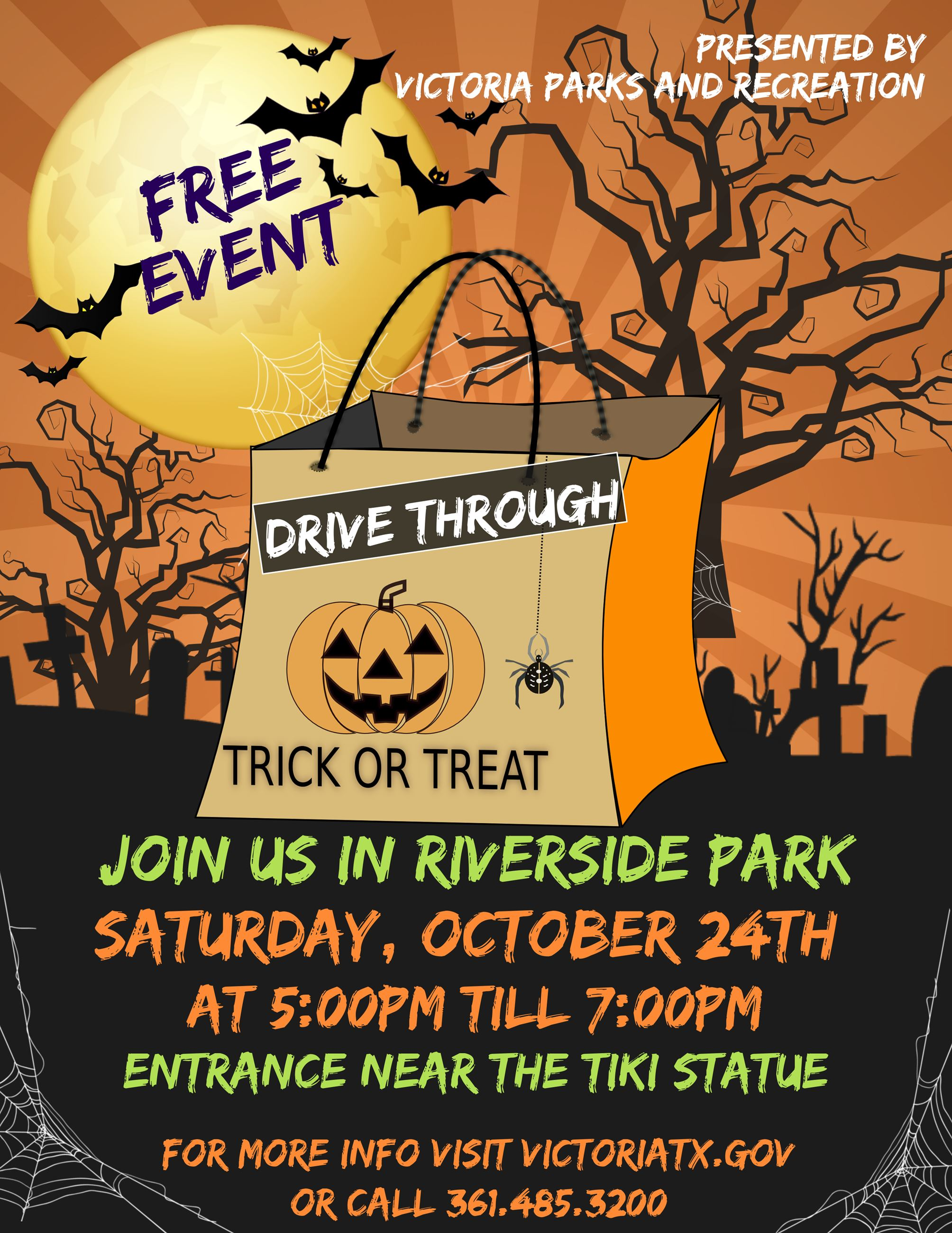 Free event presented by Parks & Recreation. Drive-thru trick-or treat in Riverside Park 5-7 p.m.