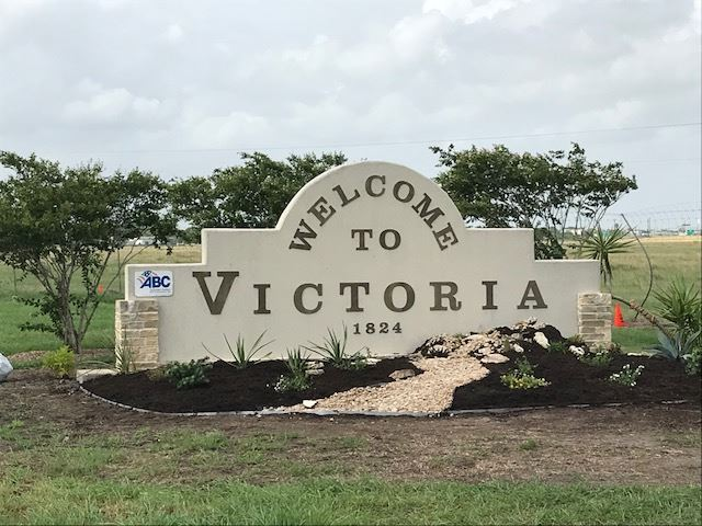 Finished Welcome to Victoria sign